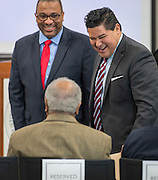 Houston ISD superintendent Richard Carranza speaks with community members before a ribbon cutting ceremony at South Early College High School, October 8, 2016.