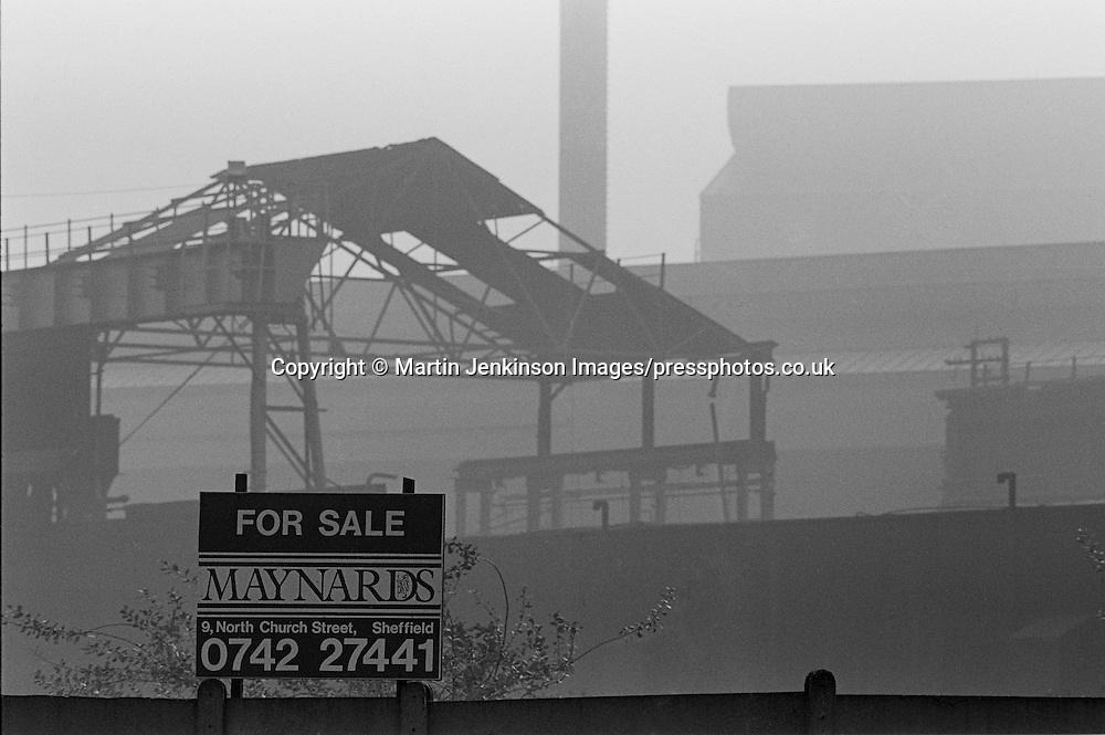 For Sale sign outside the derelict Hadfields Leeds Road steel works, formerly Brown Bayleys.