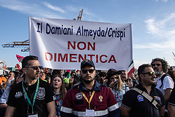 May 23, 2019 - Palermo, Italy - People take part in Palermo, Italy, on May 23, 2019 in the commemoration service for the 27th anniversary of the deaths of Giovanni Falcone and Paolo Borsellino, Italian prosecutors killed by the mafia in May and July 1992. On 23 May 1992 a roadside bomb took the lives of Falcone, his wife and three police officers. The attack was followed by a car bombing that killed Borsellino and five police officers on 19 July. (Credit Image: © Francesco Militello Mirto/NurPhoto via ZUMA Press)
