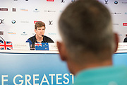 Peter Burling, Helmsman for Emirates Team New Zealand. Russel Coutts in foreground. 35th America's Cup opening press conference. 25/5/2017