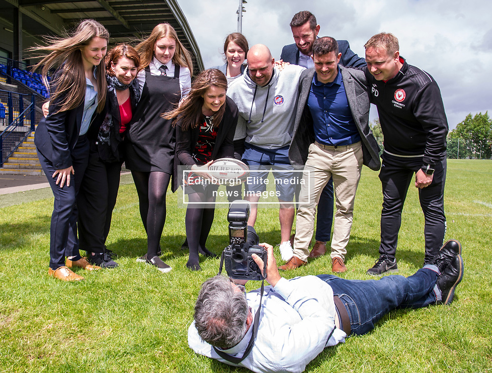 Pictured: Ms Campbell linked up with Eric Jones, rugby coach at Lismore Rugby Club, Leah Carrigan, (16) Lismore Rugby Club player, and Paul Doig Edinburgh South Community Football Club among others for a scrum down.<br /> <br /> During a visit to Meggatland Sports Complex in Ediburgh today, Minister for Sport, Aileen Campbell, launched a GBP1 million cash fund as part of a new programme aimed at using the power of sport to change lives and create a more inclusive and healthier nation.<br /> <br /> Ger Harley; Edinburgh Elite media