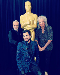 """Adam Lambert releases a photo on Instagram with the following caption: """"Truly an honor to continue performing alongside these two legends after 7 years. You\u2019ve changed my life! Im honored to help keep your songs exist as live entertainment! I love u Freddie. :) @brianmayforreal @rogertaylorofficial @officialqueenmusic #oscars #adamlambert : pic: Richard Harbaugh/A.M.P.A.S."""". Photo Credit: Instagram *** No USA Distribution *** For Editorial Use Only *** Not to be Published in Books or Photo Books ***  Please note: Fees charged by the agency are for the agency's services only, and do not, nor are they intended to, convey to the user any ownership of Copyright or License in the material. The agency does not claim any ownership including but not limited to Copyright or License in the attached material. By publishing this material you expressly agree to indemnify and to hold the agency and its directors, shareholders and employees harmless from any loss, claims, damages, demands, expenses (including legal fees), or any causes of action or allegation against the agency arising out of or connected in any way with publication of the material."""