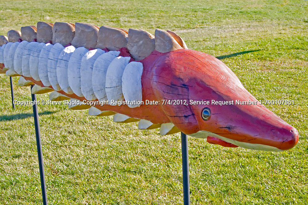 Sturgeon by Robert Ressler, exhibited in an outside art gallery. Franconia Sculpture Park Franconia Minnesota MN USA