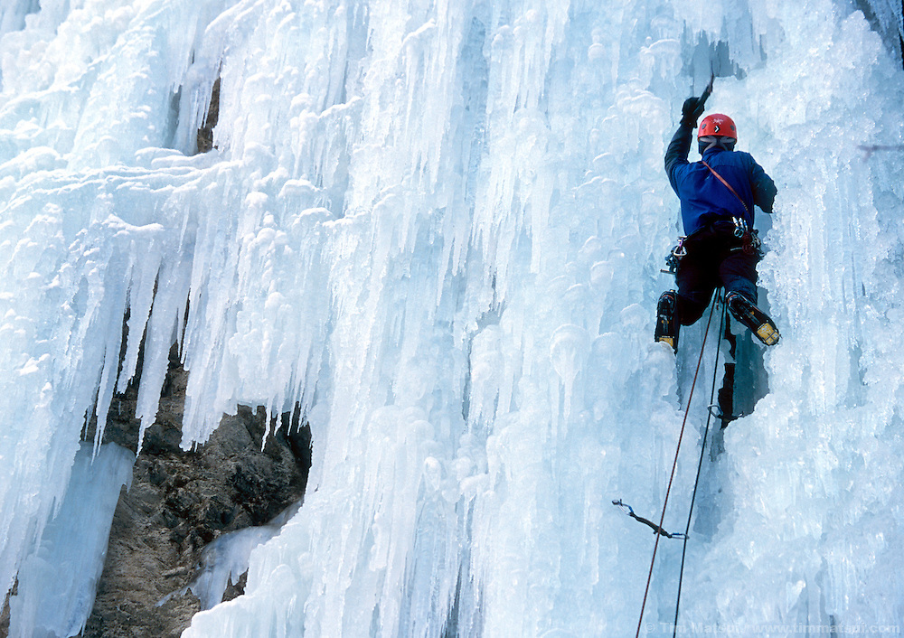 Dale Remsberg climbs Carl's Berg, rated WI5, near Lillooet British Columbia.