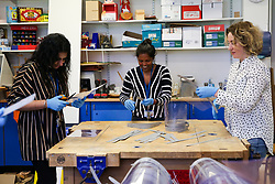 © Licensed to London News Pictures. 06/05/2020. London, UK. Staff at Gladesmore Community School in Tottenham, north London make face shields which comply with the Personal Protective Equipment (PPE) standards for NHS staff and front line key workers, using technology equipment and a laser cutter. Over a thousand face screens have been delivered to local care homes in Tottenham and to Newham University Hospital. There is a shortage of PPE during the COVID-19 pandemic, many schools and clothing manufacturers producing equipment for the NHS and front line key workers. Photo credit: Dinendra Haria/LNP