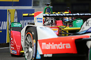 ABT Schaeffler Audi Sport driver, Daniel Abt loking through the wig of Mahindra Racing driver, Nick Heidfeld during round 10, Formula E, Battersea Park, London, United Kingdom on 3 July 2016. Photo by Matthew Redman.