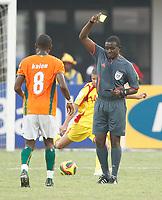 Photo: Steve Bond/Richard Lane Photography.<br />Ivory Coast v Benin. Africa Cup of Nations. 25/01/2008. Salomon Kalou is booked by ref Kenais Marange