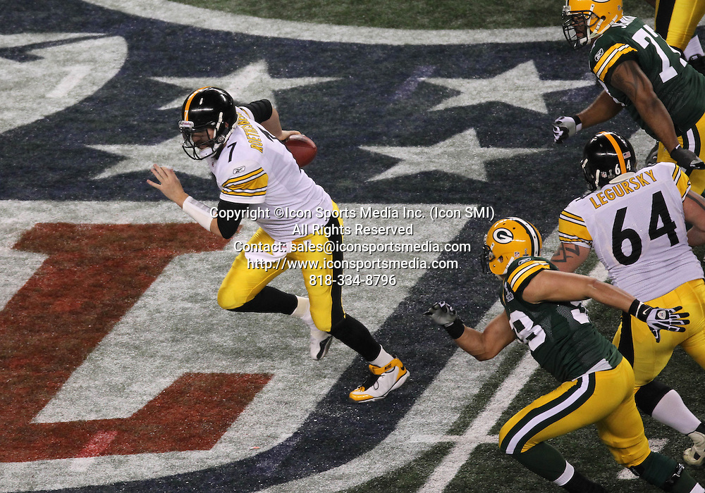 06 February 2011: Pittsburgh Steelers QB Ben Roethlisberger #7 runs the ball for extra yardage during the Pittsburgh Steelers game versus the Green Bay Packers in Super Bowl XLV at Cowboys Stadium in Arlington, Texas.