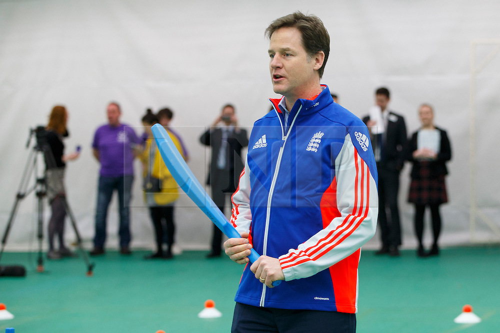 © Licensed to London News Pictures. 25/03/2015. LONDON, UK. Deputy Prime Minister Nick Clegg exercising with a cricket bat as he launches a charter to tackle mental health discrimination in sports at Oval Cricket Ground in London on Wednesday, 25 March 2015. Rugby Football Union, English Cricket Board and the Football Association, have all committed to sign the charter committing to removing the stigma and prejudice around mental health from the world of sport. Photo credit : Tolga Akmen/LNP