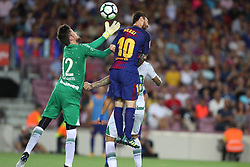 August 7, 2017 - Barcelona, Spain - Elias of Chapecoense makes a save under pressure from Lionel Messi of FC Barcelona during the 2017 Joan Gamper Trophy football match between FC Barcelona and Chapecoense on August 7, 2017 at Camp Nou stadium in Barcelona, Spain. (Credit Image: © Manuel Blondeau via ZUMA Wire)