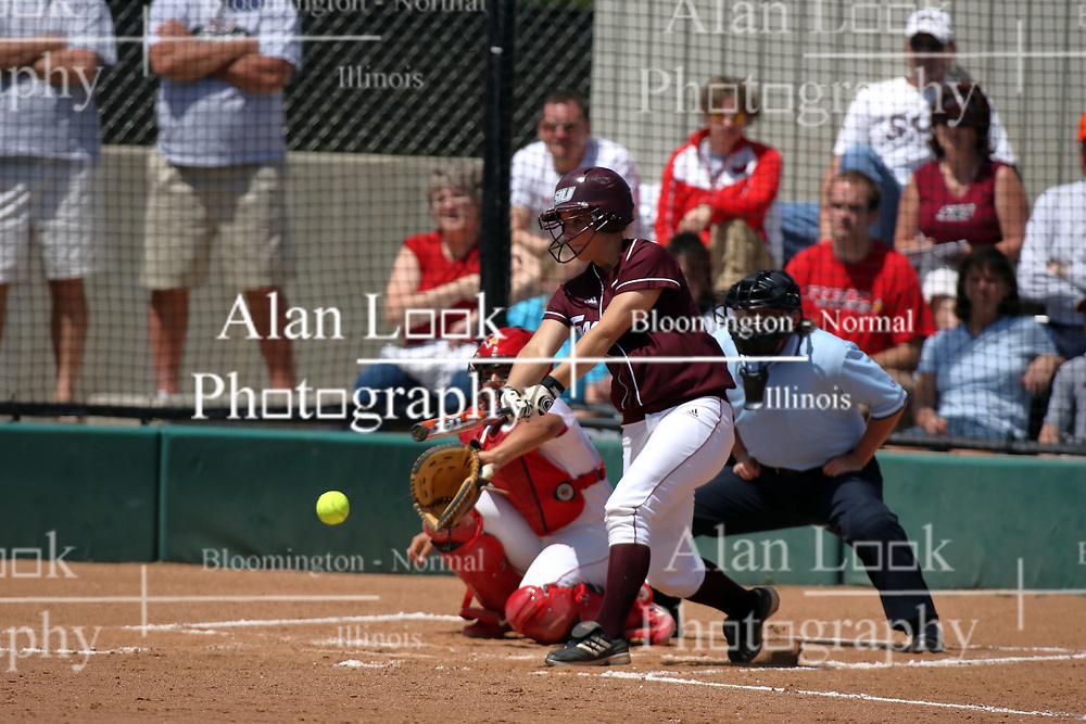 28 April 2007: Katie Wilson swings ahead of the arrival of the pitch. The Southern Illinois Salukis played the Illinois State Redbirds on the campus of Illinois State University in Normal Illinois.