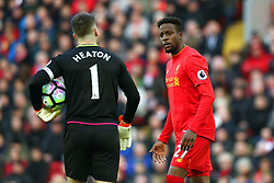 Divock Origi of Liverpool confronts Thomas Heaton of Burnley - Mandatory by-line: Matt McNulty/JMP - 12/03/2017 - FOOTBALL - Anfield - Liverpool, England - Liverpool v Burnley - Premier League