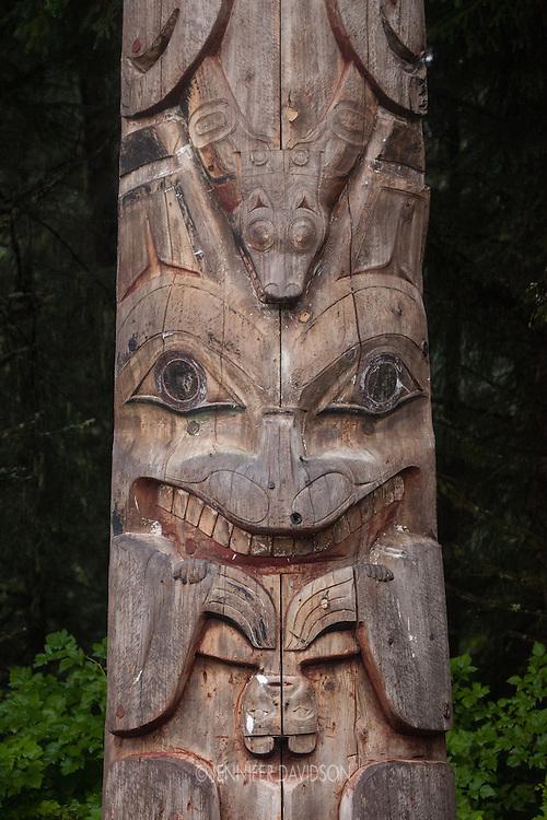 A totem pole at the Sitka National Historical Park in Sitka, Alaska.