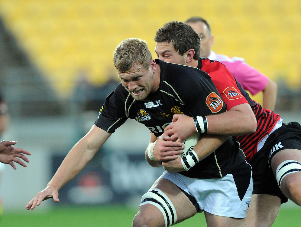 Wellingtons' Brad Shields breaks through the Canterbury defence in the ITM Cup Rugby Premiership Final at Westpac Stadium, Wellington, New Zealand, Saturday, October 26, 2013. Credit:SNPA / Ross Setford