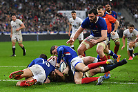 Rugby Union - 2020 Guinness Six Nations Championship - France vs. England<br /> <br /> England's George Kruis held up over the line, at The Stade de France, Paris.<br /> <br /> COLORSPORT/ASHLEY WESTERN