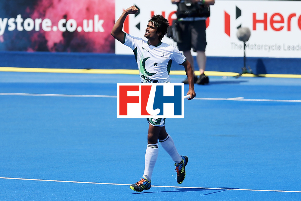 LONDON, ENGLAND - JUNE 19: Muhammad Aleem Bilal of Pakistan celebrates scoring his sides third goal during the Pool B match between Scotland and Pakistan on day five of Hero Hockey World League Semi-Final at Lee Valley Hockey and Tennis Centre on June 19, 2017 in London, England.  (Photo by Alex Morton/Getty Images)