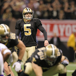 Jan 24, 2010; New Orleans, LA, USA; New Orleans Saints PK Garrett Hartley (5) lines up for a 40-yard game winning field goal during a 31-28 overtime victory by the New Orleans Saints over the Minnesota Vikings in the 2010 NFC Championship game at the Louisiana Superdome. Mandatory Credit: Derick E. Hingle-US PRESSWIRE