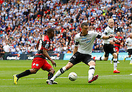 Junior Hoilett of Queens Park Rangers cuts inside the Derby County defence during the Sky Bet Championship Play Off final at Wembley Stadium, London<br /> Picture by Andrew Tobin/Focus Images Ltd +44 7710 761829<br /> 24/05/2014