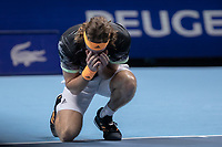 Tennis - 2019 Nitto ATP Finals at The O2 - Day Eight<br /> <br /> Singles Final : Stefanos Tsitsipas (Greece) Vs. Dominic Thiem (Austria)<br /> <br /> Stefanos Tsitsipas (Greece) sinks to his knees followong his win <br /> <br /> COLORSPORT/DANIEL BEARHAM