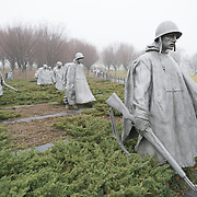 The Korean War Veterans Memorial on a misty winter's morning in Washington DC.