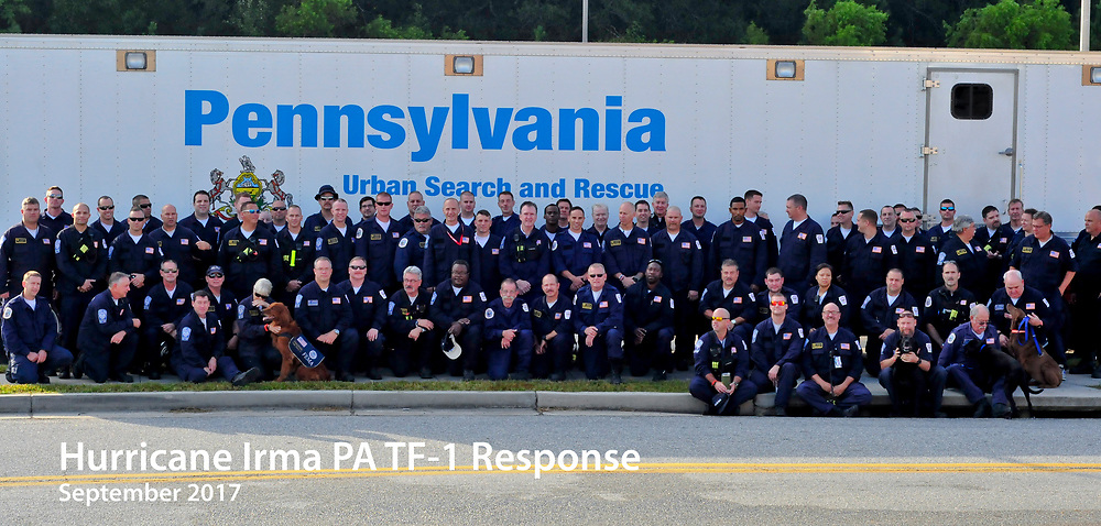 PA TF-1 conducts post-Irma hurricane operations on Wednesday, Sept. 13, 2017 at Robins Air Force Base in Warner Robins, Georgia. Members of the Urban Search & Rescue teams are staged at the base for response to Hurricane Irma. Photo By   CHRIS POST FEMA PA TF-1
