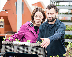 Scottish Labour leader Kezia Dugdale visits Alba Trees in Gladsmuir, East Lothian as part of the General Election campaign. She is pictured with worker Craig Shearer.<br /> <br /> &copy; Dave Johnston/ EEm