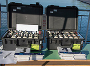 Plovdiv, Bulgaria, {DATE, }FISA, Rowing World Cup 1,  GV, General View, Bow Numbers, and GPS tracking devices, at Control Commission,[© Karon PHILLIPS/ Intersport Images]