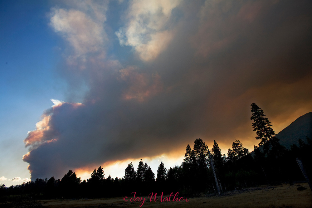 A wildfire in the Deschutes National Forest near Mt. Washington.