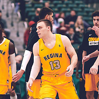 2nd year forward, Carter Millar (13) of the Regina Cougars during the Men's Basketball Home Game on Fri Nov 02 at Centre for Kinesiology,Health and Sport. Credit: Arthur Ward/Arthur Images