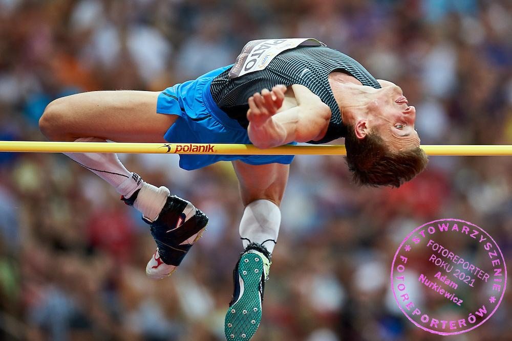 Warsaw, Poland - 2016 August 28: Maciej Lepiato (GZSN Start Gorzow Wielkopolski Club) Polish Paralympic athlete competes in men's high jump competition during athletics meeting Kamila Skolimowska Memorial 2016 at PGE National Stadium  August 28, 2016 w Warsaw, Poland.<br /> <br /> Adam Nurkiewicz declares that he has no rights to the image of people at the photographs of his authorship.<br /> <br /> Picture also available in RAW (NEF) or TIFF format on special request.<br /> <br /> Any editorial, commercial or promotional use requires written permission from the author of image.<br /> <br /> Mandatory credit:<br /> Photo by &copy; Adam Nurkiewicz