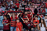 February 18, 2017:  Western Sydney Wanderers fans at Round 20 of the 2016 Hyundai A-League match, between Western Sydney Wanderers and Sydney FC, played at ANZ Stadium in Sydney.