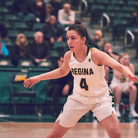 4th year guard, Avery Pearce (4) of the Regina Cougars during the Women's Basketball Home Game on Fri Nov 30 at Centre for Kinesiology,Health and Sport. Credit: Arthur Ward/Arthur Images