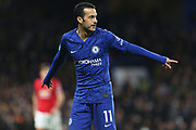 Chelsea forward Pedro in action during the Premier League match between Chelsea and Manchester United at Stamford Bridge, London, England on 17 February 2020.