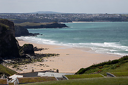 "© Licensed to London News Pictures. 11/05/2020. Newquay, UK. Watergate Bay beach on the North coast of Cornwall is empty, the day after British Prime Minister Boris Johnson announced a 'road map' to lift lockdown restrictions due to Covid-19, (Coronavirus). A rise in ""staycations"" - the concept of holidaying in your home country rather than travelling abroad - is expected, with many visitors planning to visit Cornwall. However, an ongoing campaign titled ""#ComeBackLater"" is trying to persuade tourists not to visit the county until it is safe to do so. Photo credit : Tom Nicholson/LNP"