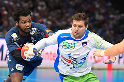 Bezjak Marko and Sorhaindo Cedric  during 25th IHF men's world championship 2017 match between France and Slovenia at Accord hotel Arena on january 24 2017 in Paris. France. PHOTO: CHRISTOPHE SAIDI / SIPA / Sportida