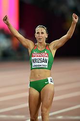 Xenia Krizsan of Hungary celebrates - Mandatory byline: Patrick Khachfe/JMP - 07966 386802 - 06/08/2017 - ATHLETICS - London Stadium - London, England - 800m Heptathlon - IAAF World Championships