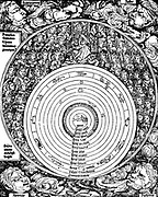 Geocentric universe and the hierarchies of cherubims and seraphims, etc., leading to God. From Hartmann Schedel 'Liber chronicarum mundi', (Nuremberg Chronicle) Nuremberg, 1493. Woodcut.