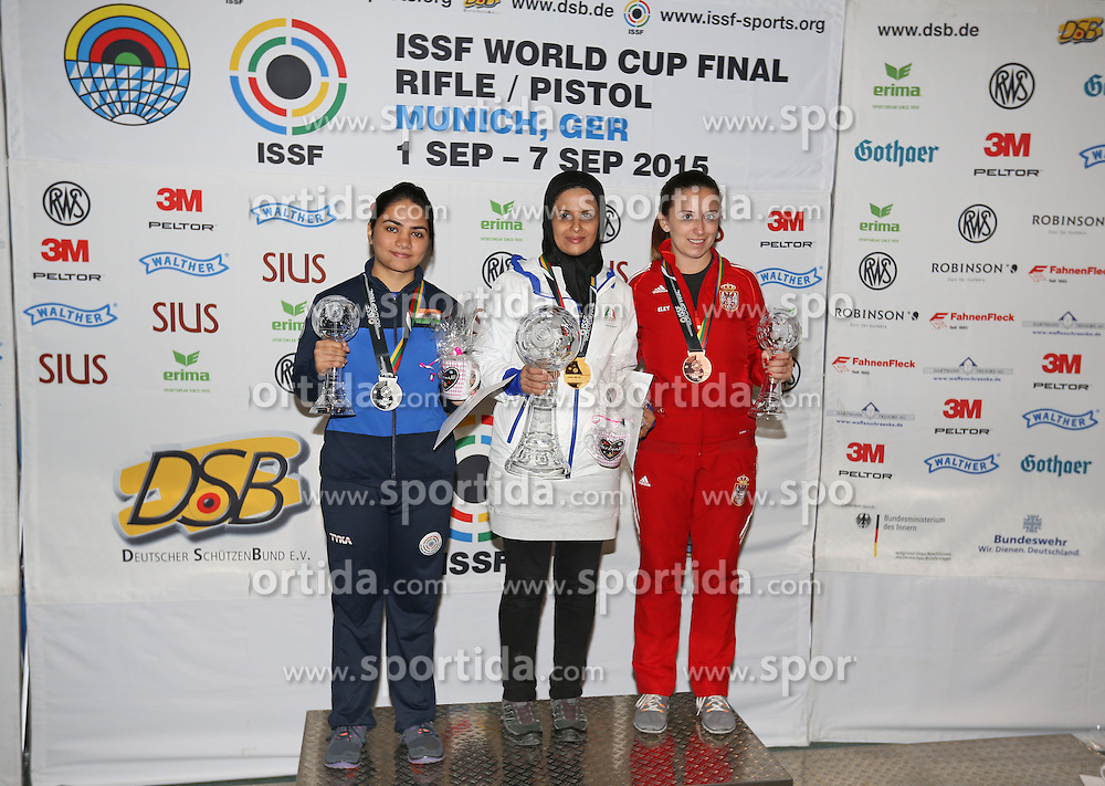 08.07.2015, Olympia Schiessanlage Hochbrueck, Muenchen, GER, ISSF World Cup 2015, Gewehr, Pistole, Damen, 10 Meter Luftgewehr, im Bild Von links nach rechts Apurvi Chandela (IND), Silber, Elaheh Ahmadi (IRI), Gold sowie Andrea Arsovic (SRB), Bronze. // during the women's 10M air rifle competition of the 2015 ISSF World Cup at the Olympia Schiessanlage Hochbrueck in Muenchen, Germany on 2015/07/08. EXPA Pictures &copy; 2015, PhotoCredit: EXPA/ Eibner-Pressefoto/ Wuest<br /> <br /> *****ATTENTION - OUT of GER*****