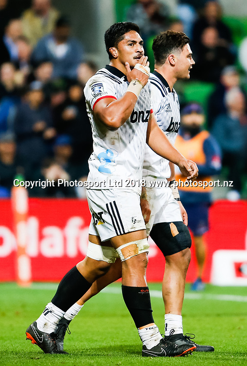 Peter Samu during Rebels v Crusaders, 2018 Super Rugby season, AAMI Park, Melbourne, Australia. 4 May 2018. Copyright Image: Brendon Ratnayake / www.photosport.nz