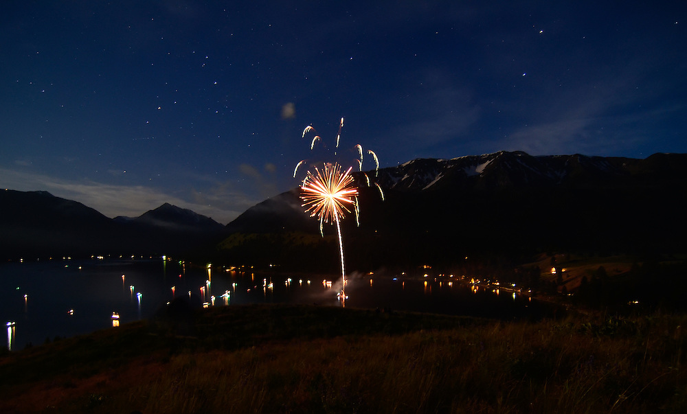 July 4th fireworks at Wallowa Lake, Oregon.