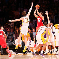 03 November 2013: Atlanta Hawks small forward Kyle Korver (26) takes a three point jumpshot at the end of the Los Angeles Lakers 105-103 victory over the Atlanta Hawks at the Staples Center, Los Angeles, California, USA.