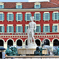 Place Massena Apollo Statue in Nice, France <br /> In 1956, this 23 foot statue of Apollo was unveiled in Place Massena, a large square in Nice, France.  However, the League of Feminine Virtue was aghast and campaigned to have it removed.  In 2011, the French became more accepting.  So, the Greek god of music, poetry and art by artist Alfred Auguste Janniot was reinstalled in the Fontaine du Soleil in front of the red ochre building of Caisse D'epargne Côte d'Azur, the French Riviera's largest financial institution.