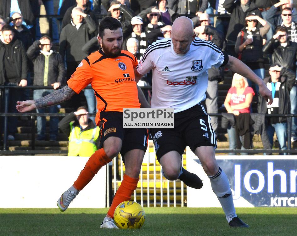Ayr United's Gerry McLauchlan in battle against Stranraer's Sam McCloskey......(c) BILLY WHITE | SportPix.org.uk