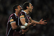 July 6th 2011: Maroons, Billy Slater and Justin Hodges celebrate a try during game 3 of the 2011 State of Origin series at Suncorp Stadium in Brisbane, QLD, Australia on July 6, 2011. Photo by Matt Roberts / mattrimages.com.au / QRL
