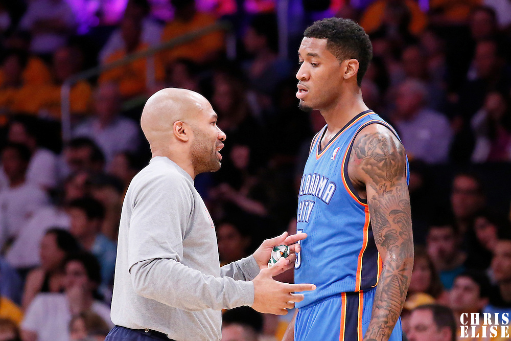 09 March 2014: Oklahoma City Thunder point guard Derek Fisher (6) talks to Oklahoma City Thunder small forward Perry Jones (3) during the Los Angeles Lakers 114-110 victory over the Oklahoma City Thunder at the Staples Center, Los Angeles, California, USA.