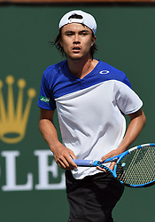 March 11, 2018 - Indian Wells, CA, U.S. - INDIAN WELLS, CA - MARCH 11: Taro Daniel (JPN) on the court in the second set of a match played during the BNP Paribas Open played on March 11, 2018 at the Indian Wells Tennis Garden in Indian Wells, CA. (Photo by John Cordes/Icon Sportswire) (Credit Image: © John Cordes/Icon SMI via ZUMA Press)