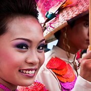 LUCBAN (Philippines). 2009. Parade of ladies at the Pahiyas Festival in Lucban.
