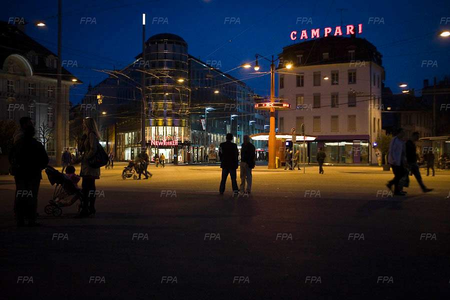 The main square of Bienne, Switzerland by night. Image © Angelos Giotopoulos/Falcon Photo Agency
