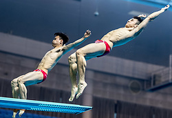 WUHAN, June 5, 2018  China's Cao Yuan (R) and Xie Siyi compete during the men's 3m springboard synchronised final at the FINA Diving World Cup 2018 in Wuhan, central China's Hubei Province, on June 5, 2018. Cao Yuan and Xie Siyi claimed the title with a total of 448.74 points. (Credit Image: © Xiong Qi/Xinhua via ZUMA Wire)