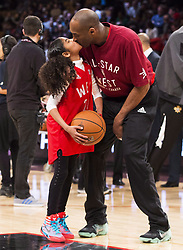 File photo dated february 14, 2016 of Los Angeles Lakers Kobe Bryant (24) kisses his daughter Gianna on the court in warm-ups before first half NBA All-Star Game basketball action in Toronto, ON, Canada. Bryant, the 18-time NBA All-Star who won five championships and became one of the greatest basketball players of his generation during a 20-year career with the Los Angeles Lakers, died in a helicopter crash Sunday. Bryant's 13-year-old daughter Gianna also was killed. Photo by Mark Blinch/CP/ABACAPRESS.COM